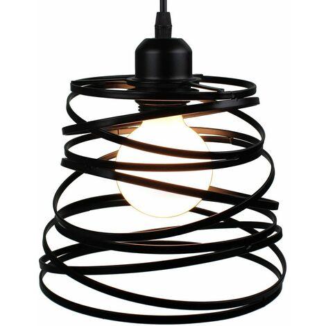 Lustre Suspension Industrielle Cage Fer forme Ressort Ø20cm Luminaire E27 pour Décor Restaurant Salle Chambre, Noir