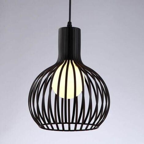 Lustre Suspensions Industrielle Cage fer Lustre Abat-Jour E27 Noir