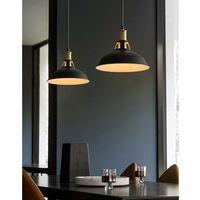 Suspension Vintage Industrielle Lampe de Plafonniers LED Retro Métal Lustre avec Abat-jour Luminaire E27 Eclairage de Plafond Noir