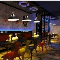 Lot de 2 Suspension Vintage Industrielle Lampe de Plafonniers LED Retro Métal Lustre avec Abat-jour Luminaire E27 Eclairage de Plafond Noir