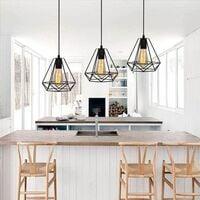 STOEX Suspension Industrielle Vintage Cage Dimant, Lampe de Plafond Barre 3 Luminaire Métal Lustre Abat-Jour E27 Noir