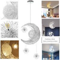 Lustre Suspension Industrielle Lune étoiles LED Plafonnier Luminaire Aluminium avec 5 Ampoules pour Enfants Chambre (Lumière blanche chaude)