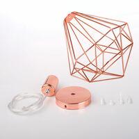 Suspension industrielle métal lustre abat-jour contemporain forme diamant 26cm - Or rose