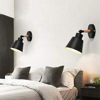 Moderne Applique Murale Industrielle en Métal  Luminaires E27 Edison Loft Lampe pour Café Bar Couloir Salle à Manger Salon Chambre (Noir)