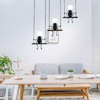 Moderne Suspension Créatif Poupée Fer Gens Balançoire Enfants Lampe suspendue Salon Chambre Créative Lumière (Noir)