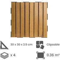 Dalle en bois acacia huilé Snap & Go (lot de 4) - Chêne moyen 30 x 30 cm - Chêne moyen