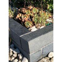 Bordure de jardin ardoise tambourinée - 50 x 8 x 8 cm - Gris clair - Gris clair