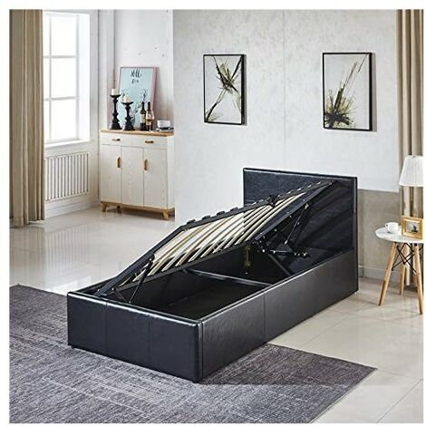 KOSY KOALA Ottoman Storage Bed Side Lift Opening (Black, 3FT SINGLE BED FRAME)