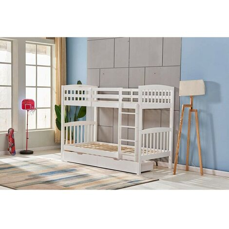 KOSY KOALA HEAVY DUTY WHITE WOOD BUNK BED 3FT SINGLE SPLIT INTO 2 SINGLE BEDS FOR KIDS CHILDREN ADULTS COMES WITH 2 DRAWERS KIDS BUNKBED (BUNKBED & 2 DRAWERS)