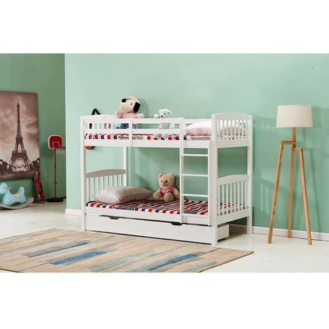 KOSY KOALA WHITE WOOD BUNKBED 3FT SINGLE SPLIT INTO 2 SINGLE BEDS FOR KIDS CHILDREN WITH 2 UNDER BED DRAWERS and 2 MATTRESSES