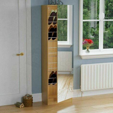 KOSY KOALA Mirrored Shoe Cabinet Hallway Cupboard Storage Organiser, Footwear Stand Rack 6ft Mirrored Shoe Cabinet Storage  Full Mirror Oak Effect or Black or White - Oak Effect