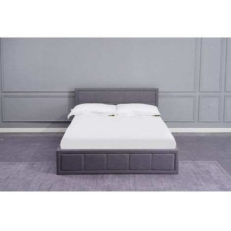 KOSY KOALA Grey Upholstered Storage Ottoman Gas Side Lift Bed Natural Linen Fabric Bed - 4FT Small Double