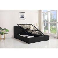 KOSY KOALA Ottoman Storage Bed Side Lift Opening Black 4ft small double (Black, 4FT SMALL DOUBLE BED FRAME)