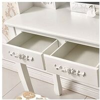 KOSY KOALA White Rose Dressing Table Makeup Desk Dresser With Stool, 4 Drawers and Adjustable Oval Mirror Bedroom furniture