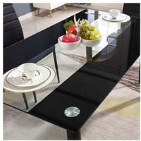 KOSY KOALA STUNNING BLACK GLASS KITCHEN DINING TABLE SET AND 6 OR 4 BLACK FAUX LEATHER CHAIRS - Table with 4 black Chairs