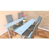KOSY KOALA STUNNING GLASS GREY DINING TABLE AND 4 GREY FAUX LEATHER CHAIRS KITCHEN DINING TABLE SET