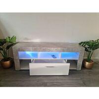 KOSY KOALA Modern stone grey LED TV Cabinets, 120CM TV Unit Cabinet Stand Matt Body High Gloss Door With RGB Led Lights Storage
