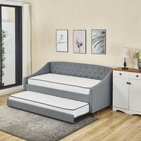 KOSY KOALA Linen fabric grey daybed sofabed with underbed trundle living room bedroom furniture guest day bed sofabed (Grey, Wit