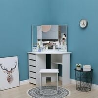 KOSY KOALA Corner Dressing Table Makeup Vanity Table Dresser With 3 Mirrors 5 Drawers and Stool (White)