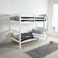 KOSY KOALA WHITE WOOD BUNK BED 3FT SINGLE HEAVY DUTY SPLIT INTO 2 SINGLE CHILDREN BEDS,SHAKER STYLE BUNKBED FOR KIDS CHILDREN