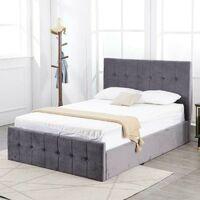 Kosy Koala Milano Grey Velvet Tufted Cushioned High Headboard Storage Ottoman Gas Side Lift Bed 3ft 4ft 4ft6 - 3FT SINGLE