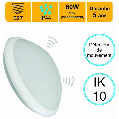 Applique d'exterieur Hublot E27 rond IP44 IK10 avec détecteur de mouvement