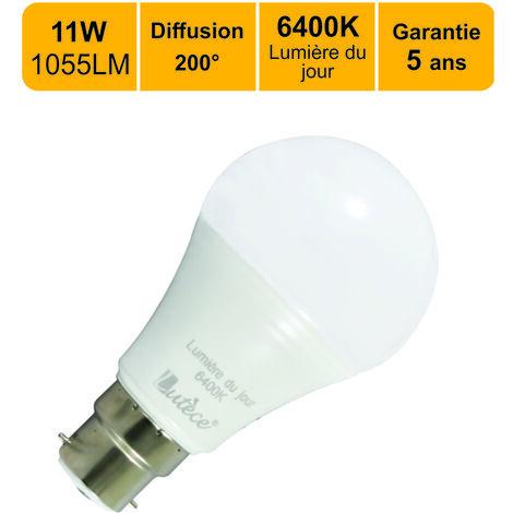 Lot de 12 ampoules LED B22 11W (equiv. 75W) 1055Lm 6400K - garantie 5 ans