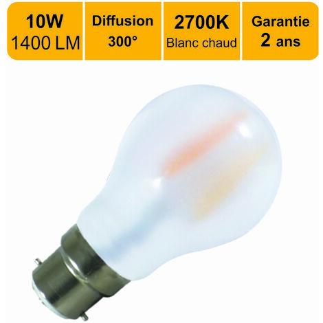 Lot de 10 ampoules LED filament B2210W (equiv. 100W) 1400Lm 2700K - garantie  5 ans