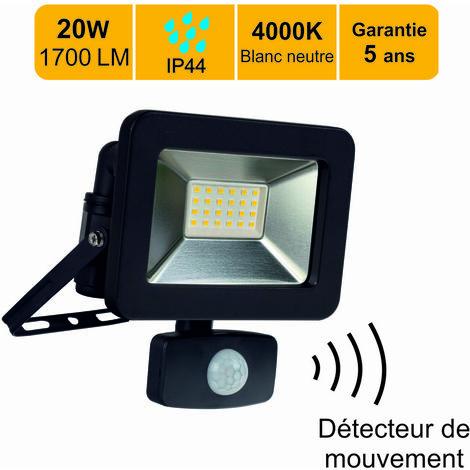 Projecteur LED 20W 1300 LM 4000K IP44 avec détecteur - garantie 5 ans