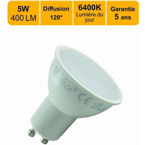 Lot de 10 ampoules LED GU105W (equiv. 50W) 400Lm 6400K - garantie  5 ans