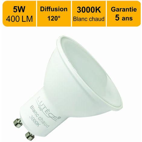 Lot de 10 ampoules LED GU10 5W (equiv. 50W) 400Lm 3000K - garantie  5 ans