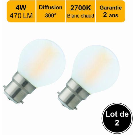 Lot de 2 ampoules LED filament B224W(equiv. 40W) 470Lm 2700K - Garantie 5 ans