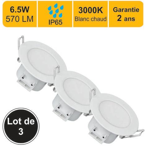 Lot de 3 spots LED encastrable - spécial salle de bain - 6.5W (Equiv. 50W) 500 LM Blanc chaud (3000K) IP65