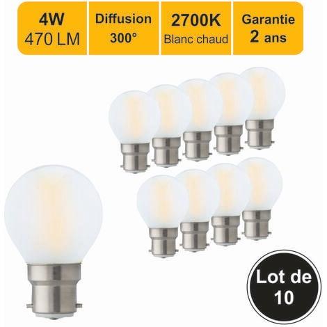 Lot de 12 ampoules LED filament B22 4W(equiv. 40W) 470Lm 2700K - garantie 2 ans