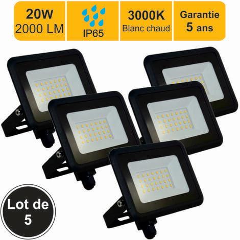 Lot de 5 projecteurs LED 20W 1700 LM 3000K IP65 connexion en direct - garantie 5 ans
