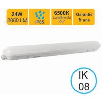 Réglette LED étanche 1200mm 24W 2880 LM 6500K IP65 - garantie 5 ans