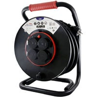 Enrouleur PRO de chantier IP44 - platine fine (anti twist) - câble de 25m H07RN-F 3G2.50 mm² - 4 prises 16A IP44