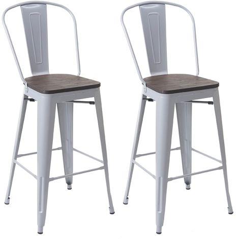 2x tabouret de bar HHG-407 avec siège en bois, chaise comptoir avec dossier, métal, design industriel ~ gris