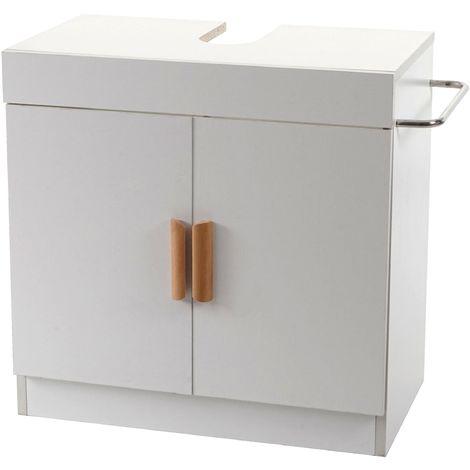 Meuble sous évier HHG-228, meuble sous vasque avec compartiment de rangement, salle de bain ~ blanc