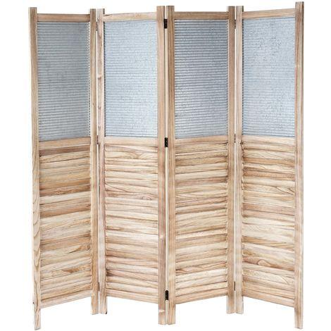 Paravent HHG-651, cloison de séparation en bois et métal, 170x160x2 cm