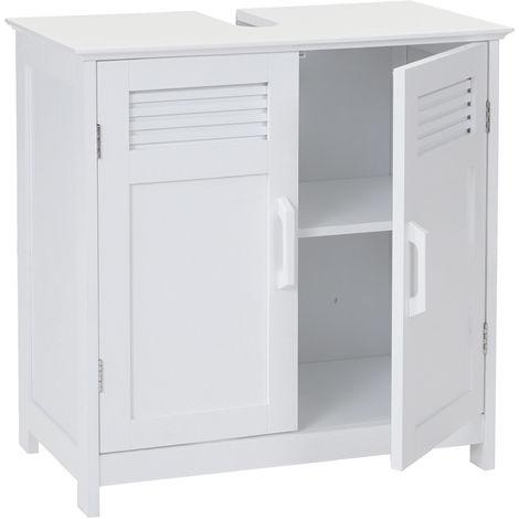 Meuble sous-vasque HHG-146, 60x60x30cm ~ blanc