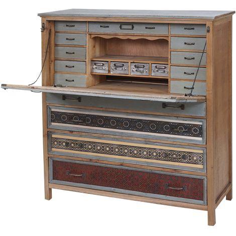 Scriban HHG-066, commode, armoire, bois massif de sapin, vintage patchwork 113x99x36cm