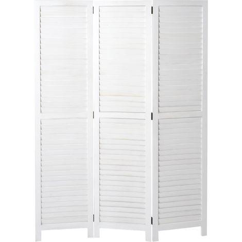 Paravent HHG-634, cloison de séparation, style shabby vintage, 170x120 cm ~ blanc