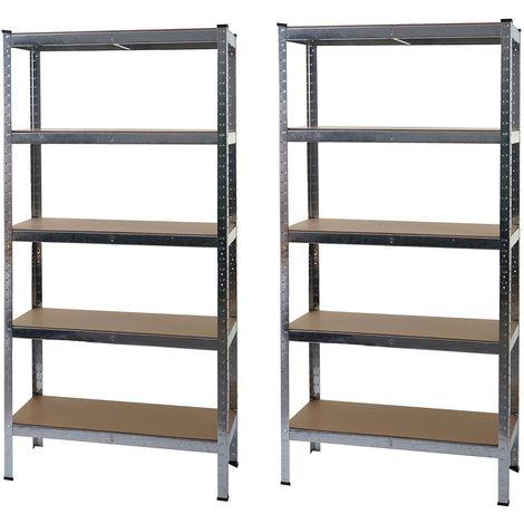 2x étagère pour charges lourdes HHG-412, étagère d'atelier, emboîtable, établi, métal 180x90x40cm ~ zingué