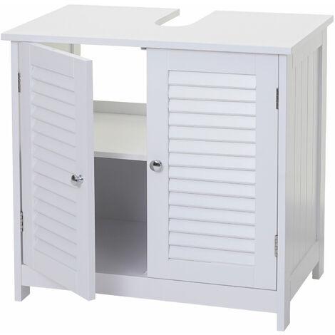 Meuble sous-vasque HHG-449, meuble de salle de bain, compartiment, style maison de campagne 60x59x35cm blanc