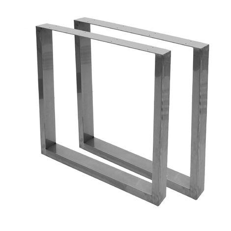 2x pied de table HHG-888, pour table de salle à manger, Industriel 74x80cm ~ aspect acier inoxydable