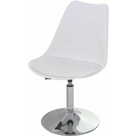 Chaise pivotante Malmö T501, chaise de cuisine, réglable en hauteur, similicuir ~ blanc, socle chromé