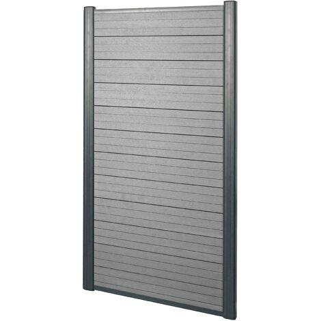 Brise-vue en WPC Sarthe, clôture brise-vent, poteaux en aluminium ~ élément de base étroit, 100cm gris