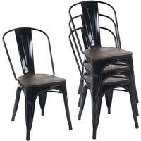 4x chaise de bistro HHG-775, avec siège en bois, chaise empilable, métal, design industriel ~ noir