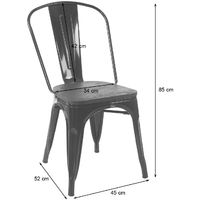 2x chaise de bistro HHG-404, avec siège en bois, chaise empilable, métal, design industriel ~ gris